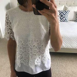 Tahari white lace top - size small